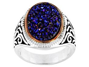 Pre-Owned Multicolor Drusy Quartz Rhodium Over Silver Two-Tone Ring