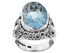 Pre-Owned Sky Blue Topaz Sterling Silver Ring 7.50ct
