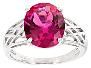 Pre-Owned Pink Lab Created Sapphire Rhodium Over Sterling Silver Solitaire Ring 5.10ctw