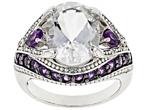 Pre-Owned White Crystal Quartz Rhodium Over Sterling Silver Ring 6.00ctw