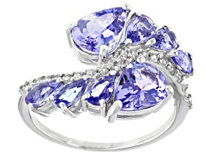 Pre-Owned Blue Tanzanite Rhodium Over Silver Ring 3.53ctw