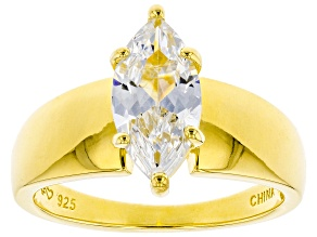 Pre-Owned White Cubic Zirconia 18K Yellow Gold Over Sterling Silver Ring 2.45ctw