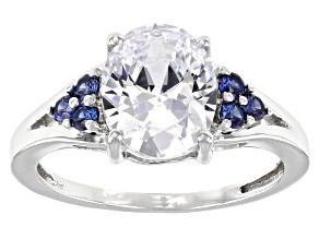 Pre-Owned White And Blue Cubic Zirconia Rhodium Over Sterling Silver Ring 4.48ctw