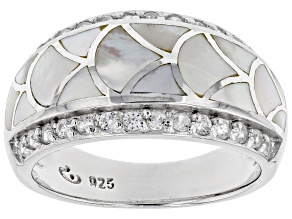 Pre-Owned White South Sea Mother-of-Pearl & White Zircon 0.56ctw Rhodium Over Sterling Silver Ring