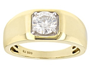 Pre-Owned Moissanite 14k Yellow Gold Over Sterling Silver Mens Ring 1.20ct DEW