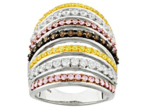 Pre-Owned Yellow, Pink, White And Brown Cubic Zirconia 18k Yellow Gold Over Silver Ring 4.53ctw (2.1