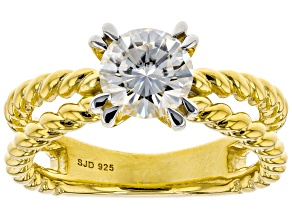 Pre-Owned Moissanite 14k Yellow Gold Over Silver Ring 1.20ct DEW.