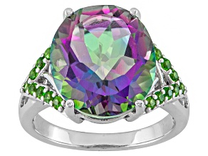 Pre-Owned Mystic® green quartz sterling silver ring 6.49ctw