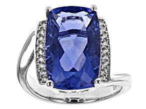 Pre-Owned Blue color change fluorite rhodium over silver ring 9.07ctw