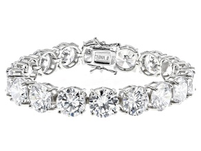Pre-Owned White Cubic Zirconia Rhodium Over Sterling Silver Tennis Bracelet 112.52ctw