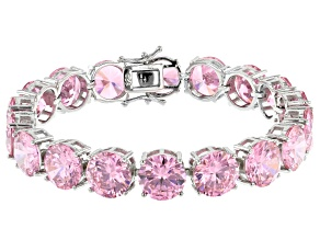 Pre-Owned Pink Cubic Zirconia Rhodium Over Sterling Silver Tennis Bracelet 112.52ctw