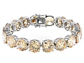 Pre-Owned Champagne Cubic Zirconia Rhodium Over Sterling Silver Tennis Bracelet 112.52ctw