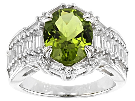 Pre-Owned Green Peridot Rhodium Over Silver Ring 4.87ctw