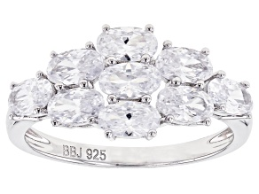 Pre-Owned White Cubic Zirconia Rhodium Over Sterling Silver Ring 3.21ctw