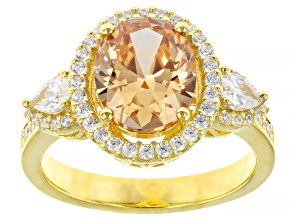 Pre-Owned Champagne And White Cubic Zirconia 18K Yellow Gold Over Sterling Silver Ring 4.64ctw