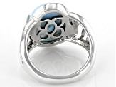 Pre-Owned Blue Larimar Sterling Silver Solitaire Ring