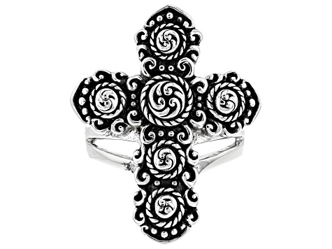 Pre-Owned Oxidized Rhodium Over Brass Filigree Cross Ring