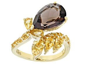 Pre-Owned Brown smoky quartz 18k yellow gold over silver ring 4.67ctw