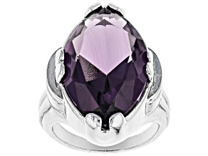 Pre-Owned Purple Crystal Silver Tone Solitaire Ring