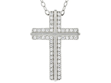 Picture of Pre-Owned White Cubic Zirconia Rhodium Over Sterling Silver Cross Pendant With Chain 0.48ctw