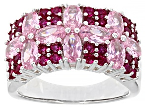 Pre-Owned Lab Created Ruby And Pink Cubic Zirconia Rhodium Over Sterling Silver Ring 4.81ctw