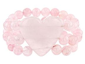 Pre-Owned Pink Rose Quartz Stretch Bracelet