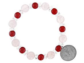 Pre-Owned  Rose Quartz, 6 Pence Coin Silver Stretch Bracelet