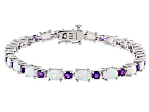 Pre-Owned Lab Created Opal Sterling Silver Station Bracelet 2.00ctw