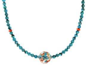 Pre-Owned Blended Turquoise And Spiny Oyster Shell Rhodium Over Silver Bead Necklace