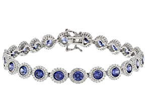 Pre-Owned Blue And White Cubic Zirconia Rhodium Over Sterling Silver Tennis Bracelet 17.84ctw