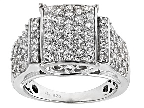 Pre-Owned Cubic Zirconia Silver Ring 3.95ctw (1.88ctw DEW)