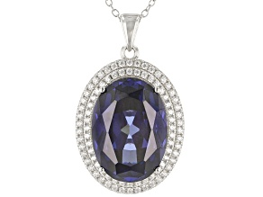 Pre-Owned Blue And White Cubic Zirconia Rhodium Over Sterling Silver Pendant With Chain 25.88ctw