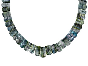 Pre-Owned Gray Labradorite Rhodium Over Sterling Silver Bead Necklace