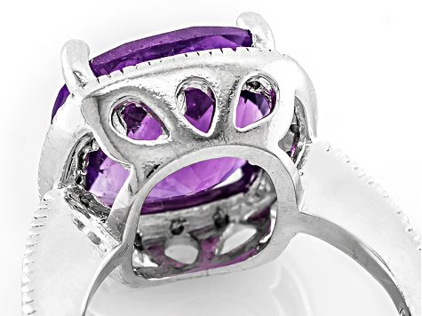 Pre-Owned Purple Amethyst Sterling Silver Ring 6.10ctw