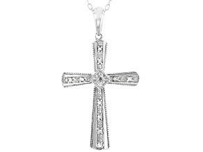 Pre-Owned White Diamond Accent Rhodium Over Sterling Silver Cross Pendant With Chain