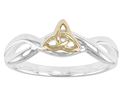 Pre-Owned Sterling Silver and 10K Yellow Gold Tapered Infinity Knot Ring