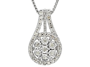 Pre-Owned White Diamond Rhodium Over Sterling Silver Pendant .33ctw