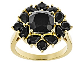 Pre-Owned Black spinel 18k yellow gold over silver ring 3.90ctw