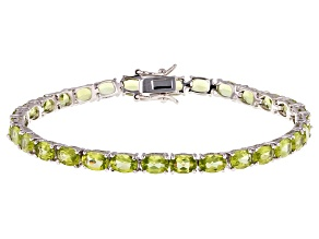 Pre-Owned Green Peridot Rhodium Over Sterling Silver Tennis Bracelet 12.14ctw