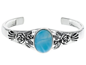 Pre-Owned Blue Larimar Sterling Silver Cuff Bracelet