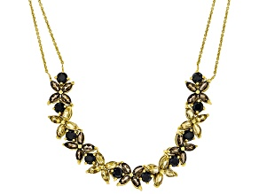 Pre-Owned Black spinel 18K yellow gold over sterling silver necklace 7.74ctw