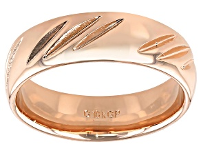 Pre-Owned Moda Al Massimo® 18k Rose Gold Over Bronze Comfort Fit 6MM Diamond Cut Band Ring