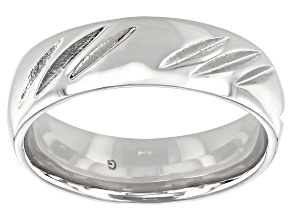 Pre-Owned Moda Al Massimo® Rhodium Over Bronze Comfort Fit Diamond Cut 6MM Band Ring