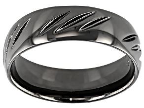 Pre-Owned Moda Al Massimo Gunmetal Rhodium Over Bronze Diamond Cut Comfort Fit 6MM Band Ring
