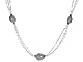 Pre-Owned White Topaz Rhodium Over Sterling Silver Necklace 35.00ctw
