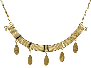 Pre-Owned Brown Jasper Simulant 18k Yellow Gold Over Bronze Necklace
