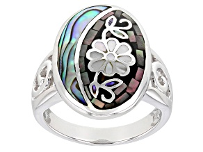 Pre-Owned Pacific Style™ Mother of Pearl and Abalone Shell Sterling Silver Mosaic Ring