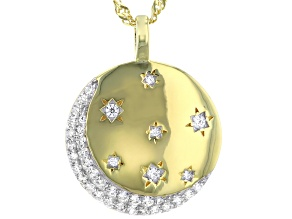 Pre-Owned White Cubic Zirconia 18k Yellow Gold Over Sterlling Silver Moon and Star Pendant With Chai