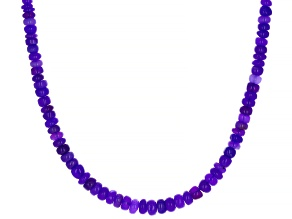 Pre-Owned Purple Ethiopian Opal Rhodium Over Sterling Silver Bead Necklace