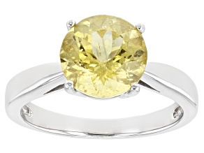 Pre-Owned Yellow Apatite Rhodium Over Sterling Silver Solitaire Ring 2.44ct
